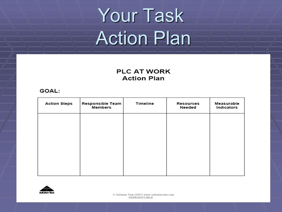 Your Task Action Plan