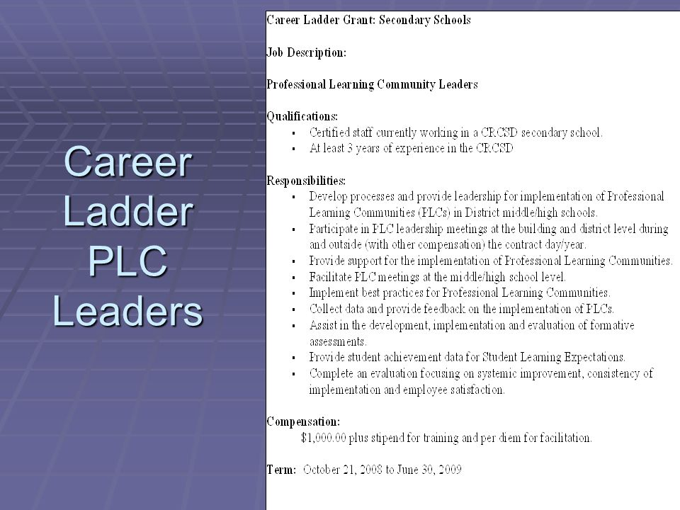 Career Ladder PLC Leaders
