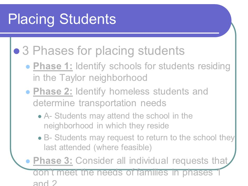 Placing Students 3 Phases for placing students Phase 1: Identify schools for students residing in the Taylor neighborhood Phase 2: Identify homeless students and determine transportation needs A- Students may attend the school in the neighborhood in which they reside B- Students may request to return to the school they last attended (where feasible) Phase 3: Consider all individual requests that dont meet the needs of families in phases 1 and 2