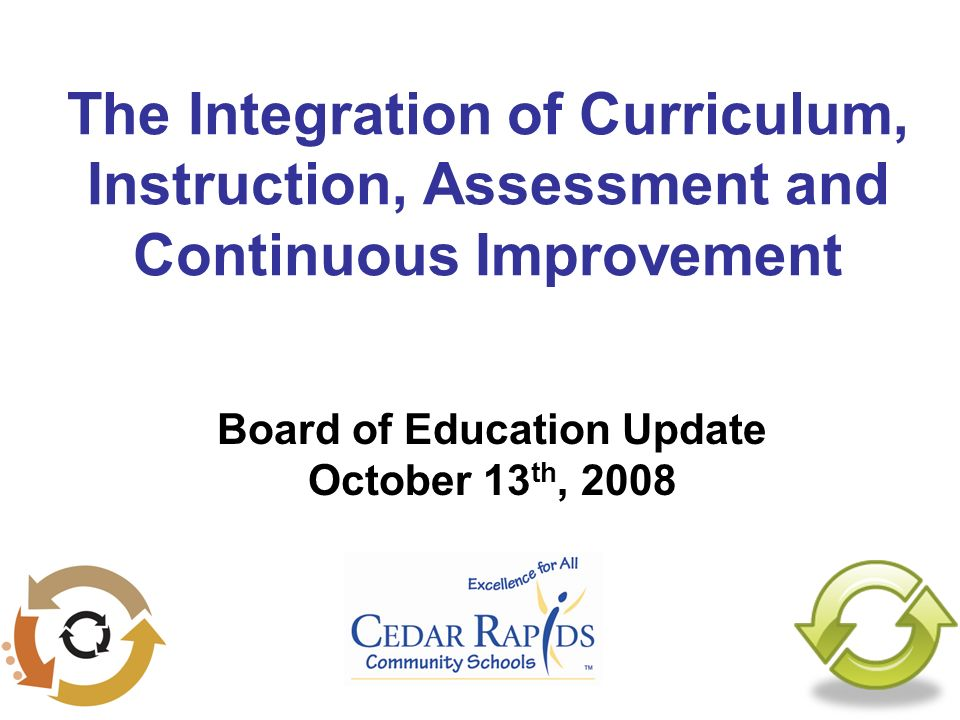 The Integration of Curriculum, Instruction, Assessment and Continuous Improvement Board of Education Update October 13 th, 2008