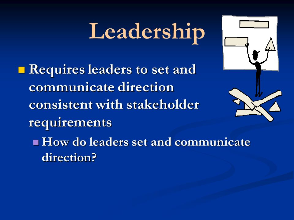 Leadership Requires leaders to set and communicate direction consistent with stakeholder requirements How do leaders set and communicate direction
