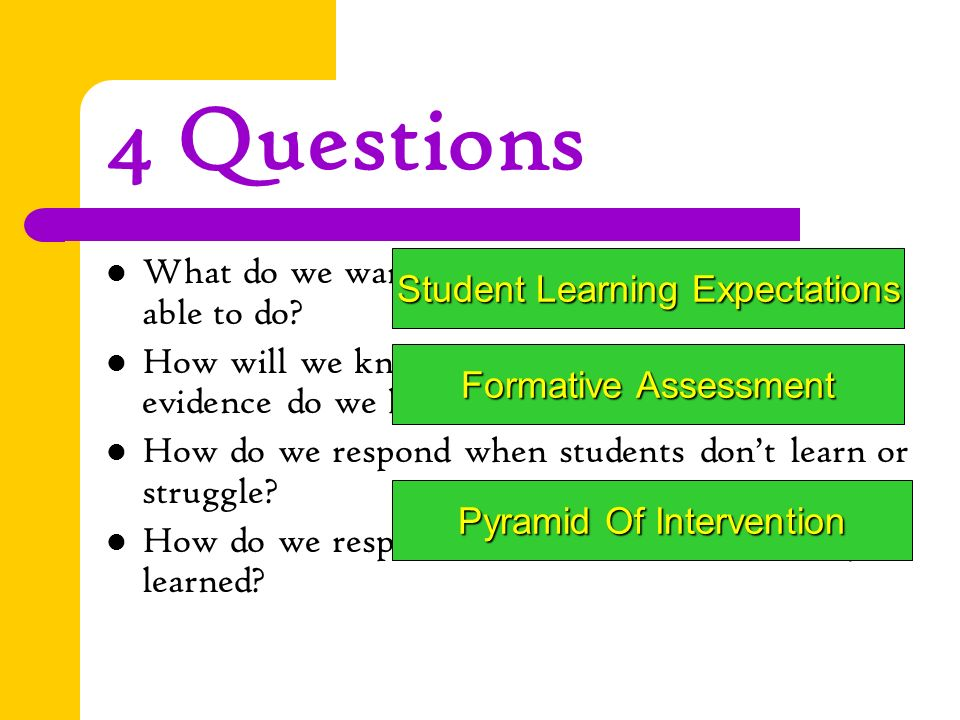 4 Questions What do we want each students to know or be able to do.