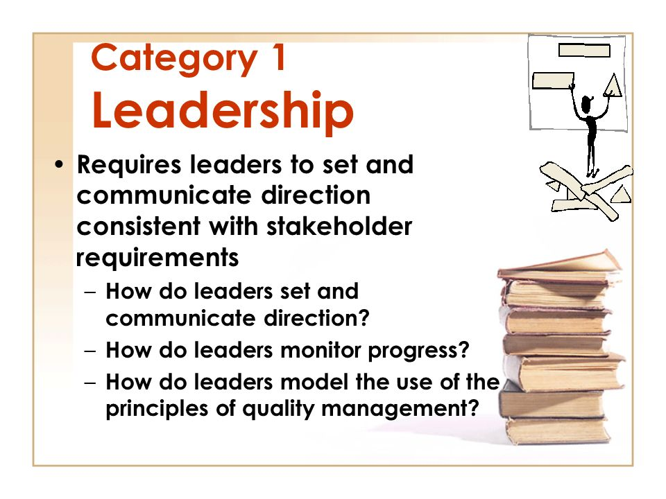 Category 1 Leadership Requires leaders to set and communicate direction consistent with stakeholder requirements –H–How do leaders set and communicate direction.