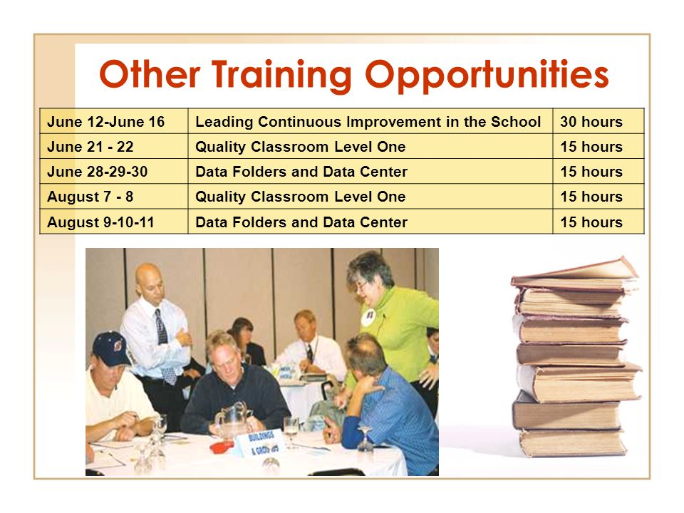 Other Training Opportunities June 12-June 16Leading Continuous Improvement in the School30 hours June 21 - 22Quality Classroom Level One15 hours June 28-29-30Data Folders and Data Center15 hours August 7 - 8Quality Classroom Level One15 hours August 9-10-11Data Folders and Data Center15 hours