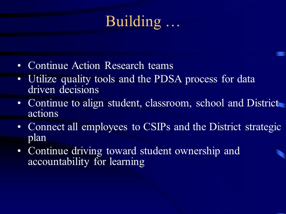 Building … Continue Action Research teams Utilize quality tools and the PDSA process for data driven decisions Continue to align student, classroom, school and District actions Connect all employees to CSIPs and the District strategic plan Continue driving toward student ownership and accountability for learning