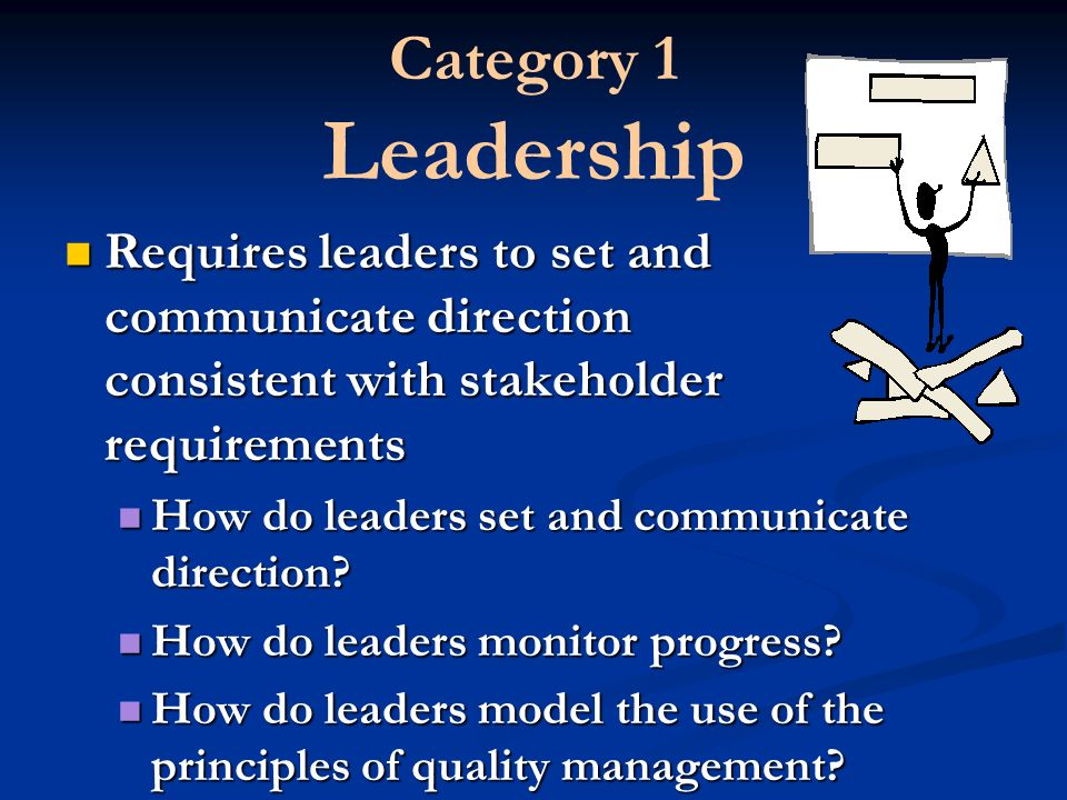 Category 1 Leadership Requires leaders to set and communicate direction consistent with stakeholder requirements How do leaders set and communicate direction.