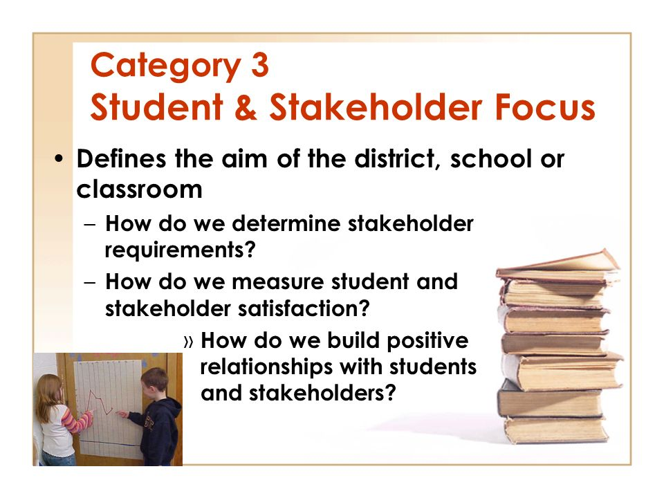 Category 3 Student & Stakeholder Focus Defines the aim of the district, school or classroom – How do we determine stakeholder requirements.
