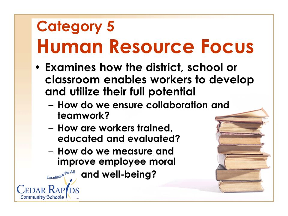 Category 5 Human Resource Focus Examines how the district, school or classroom enables workers to develop and utilize their full potential –H–How do we ensure collaboration and teamwork.