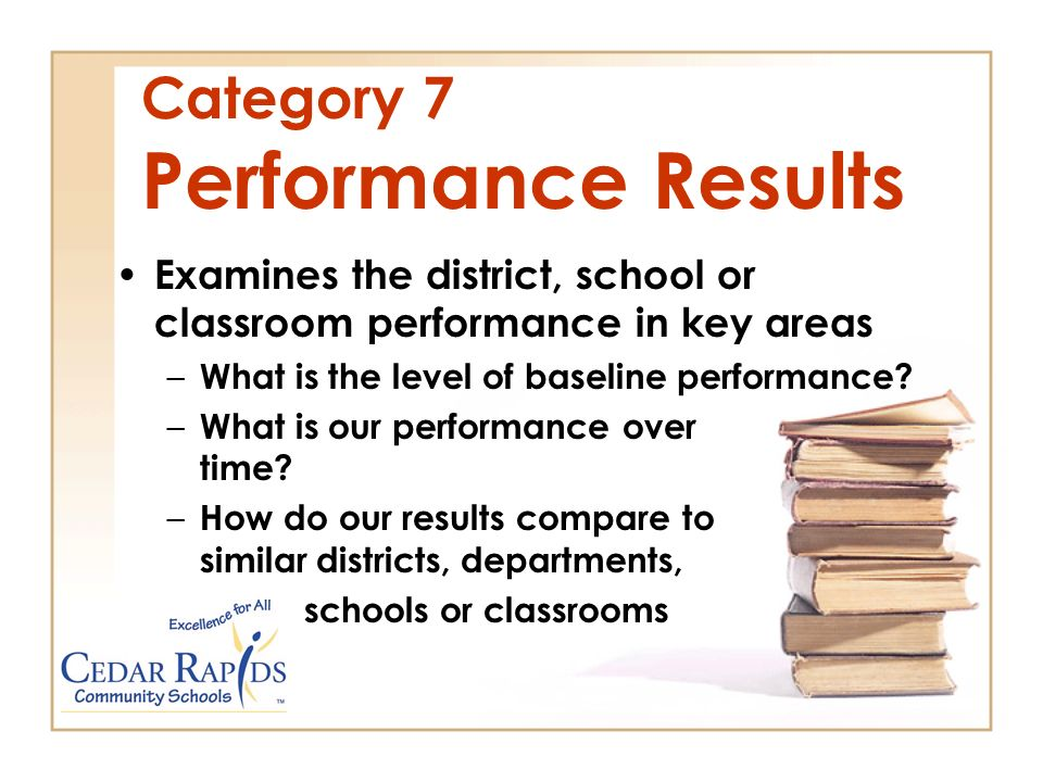 Category 7 Performance Results Examines the district, school or classroom performance in key areas – What is the level of baseline performance.