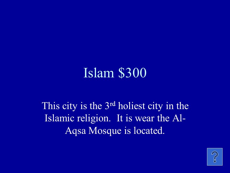 Islam $200 Holy book of this religion.