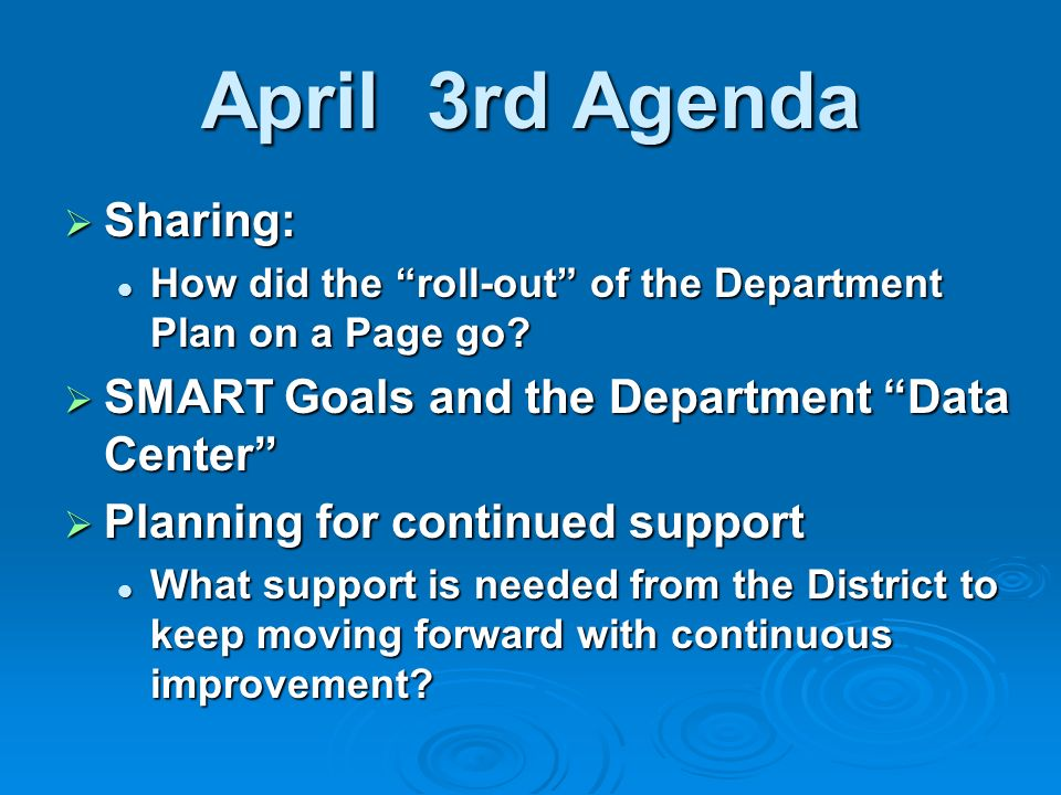 April 3rd Agenda Sharing: Sharing: How did the roll-out of the Department Plan on a Page go.