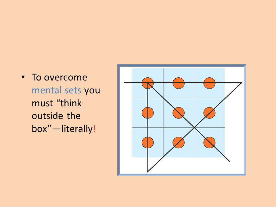 To overcome mental sets you must think outside the boxliterally!
