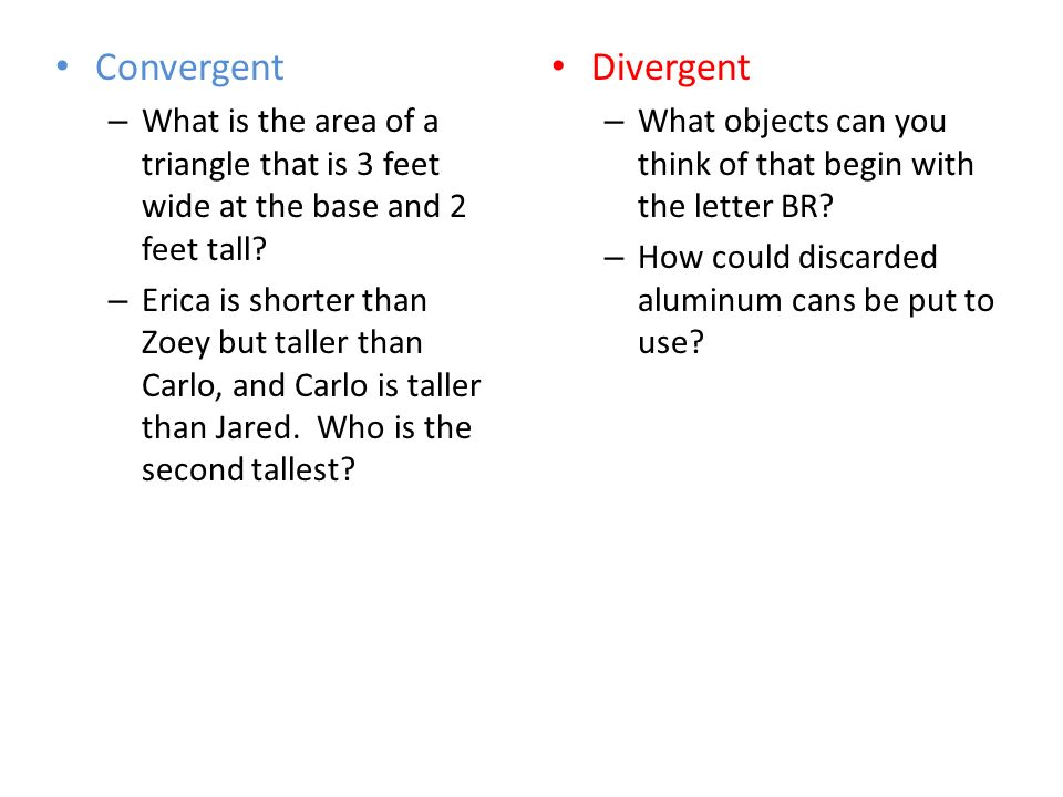 Convergent – What is the area of a triangle that is 3 feet wide at the base and 2 feet tall.