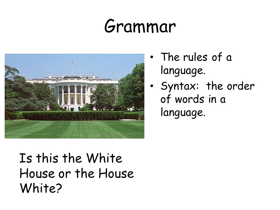 Grammar The rules of a language. Syntax: the order of words in a language.