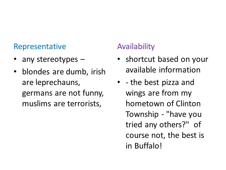 Representative any stereotypes – blondes are dumb, irish are leprechauns, germans are not funny, muslims are terrorists, Availability shortcut based on your available information - the best pizza and wings are from my hometown of Clinton Township - have you tried any others of course not, the best is in Buffalo!