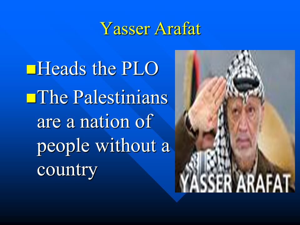 Yasser Arafat Heads the PLO Heads the PLO The Palestinians are a nation of people without a country The Palestinians are a nation of people without a country