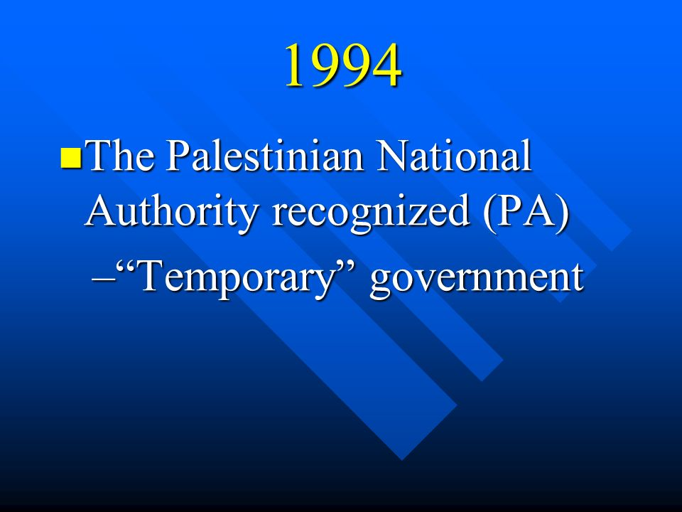 1994 The Palestinian National Authority recognized (PA) The Palestinian National Authority recognized (PA) –Temporary government