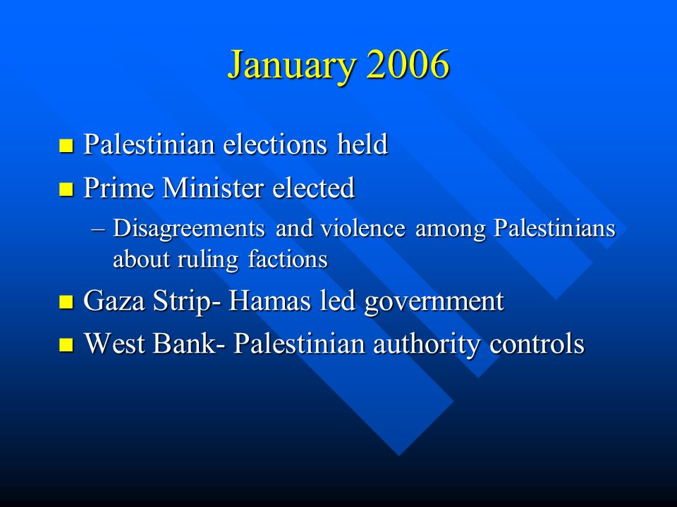 January 2006 Palestinian elections held Palestinian elections held Prime Minister elected Prime Minister elected –Disagreements and violence among Palestinians about ruling factions Gaza Strip- Hamas led government Gaza Strip- Hamas led government West Bank- Palestinian authority controls West Bank- Palestinian authority controls