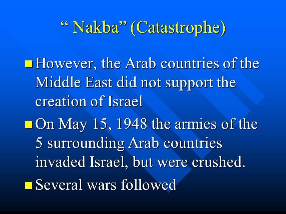 Nakba (Catastrophe) Nakba (Catastrophe) However, the Arab countries of the Middle East did not support the creation of Israel However, the Arab countries of the Middle East did not support the creation of Israel On May 15, 1948 the armies of the 5 surrounding Arab countries invaded Israel, but were crushed.