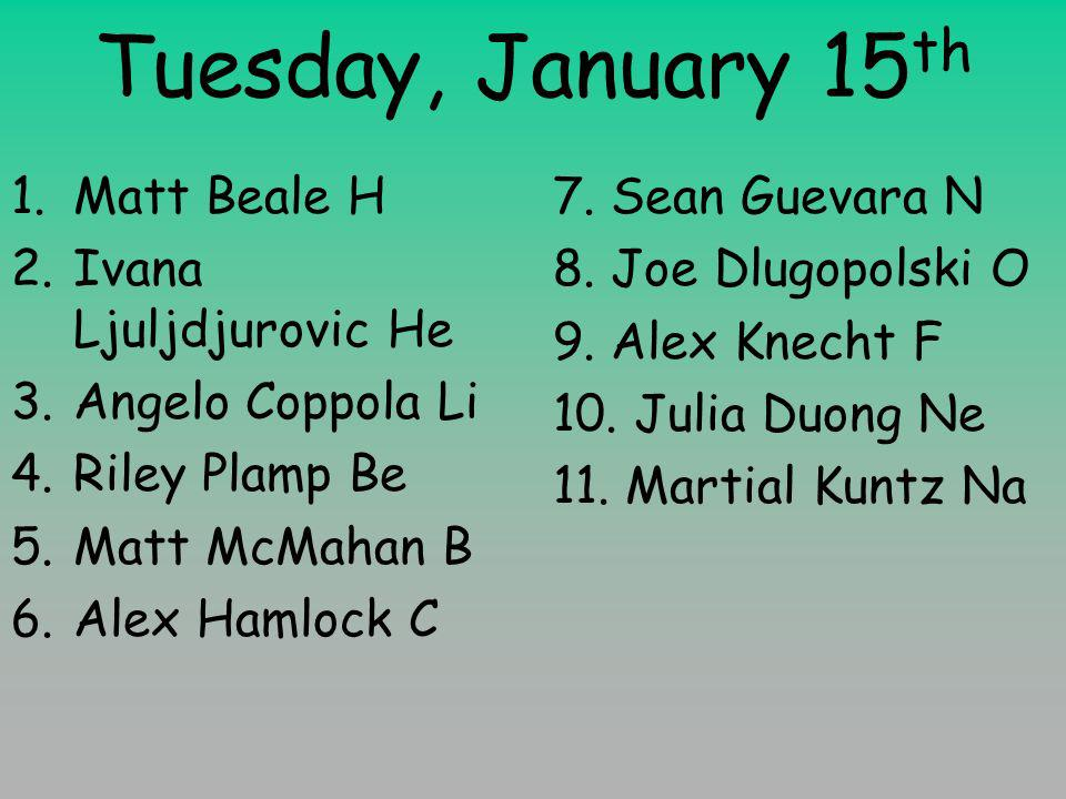Tuesday, January 15 th 1.Matt Beale H 2.Ivana Ljuljdjurovic He 3.Angelo Coppola Li 4.Riley Plamp Be 5.Matt McMahan B 6.Alex Hamlock C 7.
