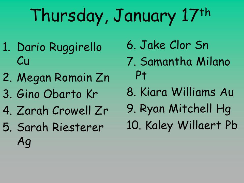Thursday, January 17 th 1.Dario Ruggirello Cu 2.Megan Romain Zn 3.Gino Obarto Kr 4.Zarah Crowell Zr 5.Sarah Riesterer Ag 6.