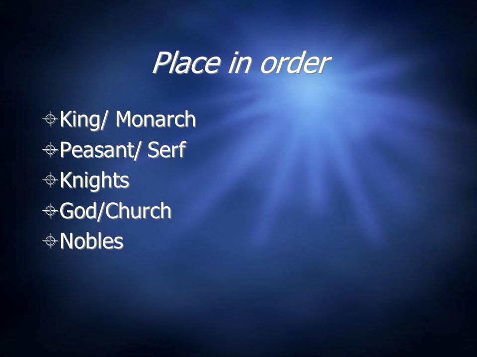 Place in order King/ Monarch Peasant/ Serf Knights God/Church Nobles King/ Monarch Peasant/ Serf Knights God/Church Nobles