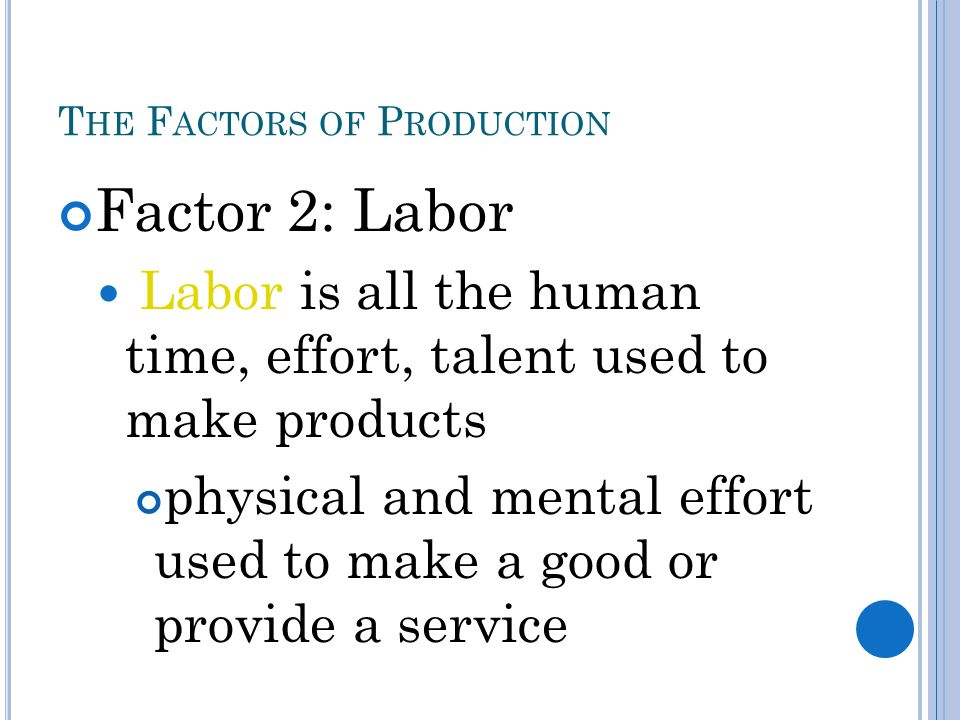 T HE F ACTORS OF P RODUCTION Factor 2: Labor Labor is all the human time, effort, talent used to make products physical and mental effort used to make a good or provide a service