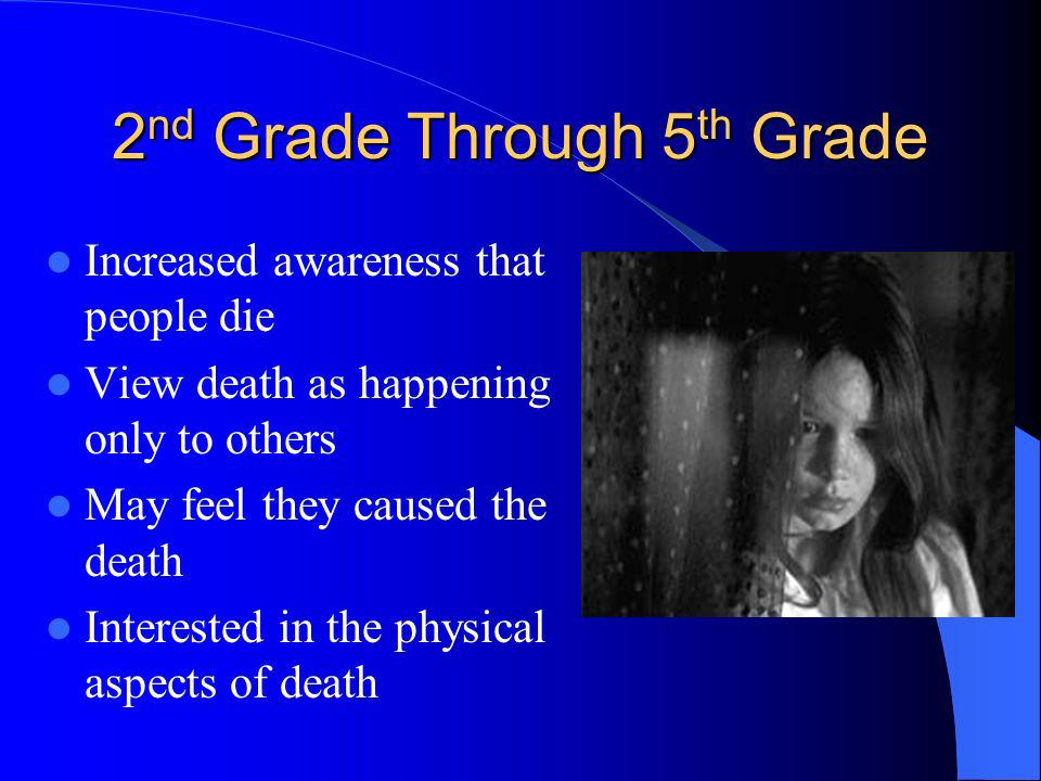 Preschool Through 1 st Grade Death is not seen as final Dead thought of as ghosts Magical thinking