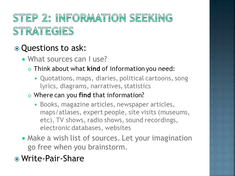 Questions to ask: What sources can I use.