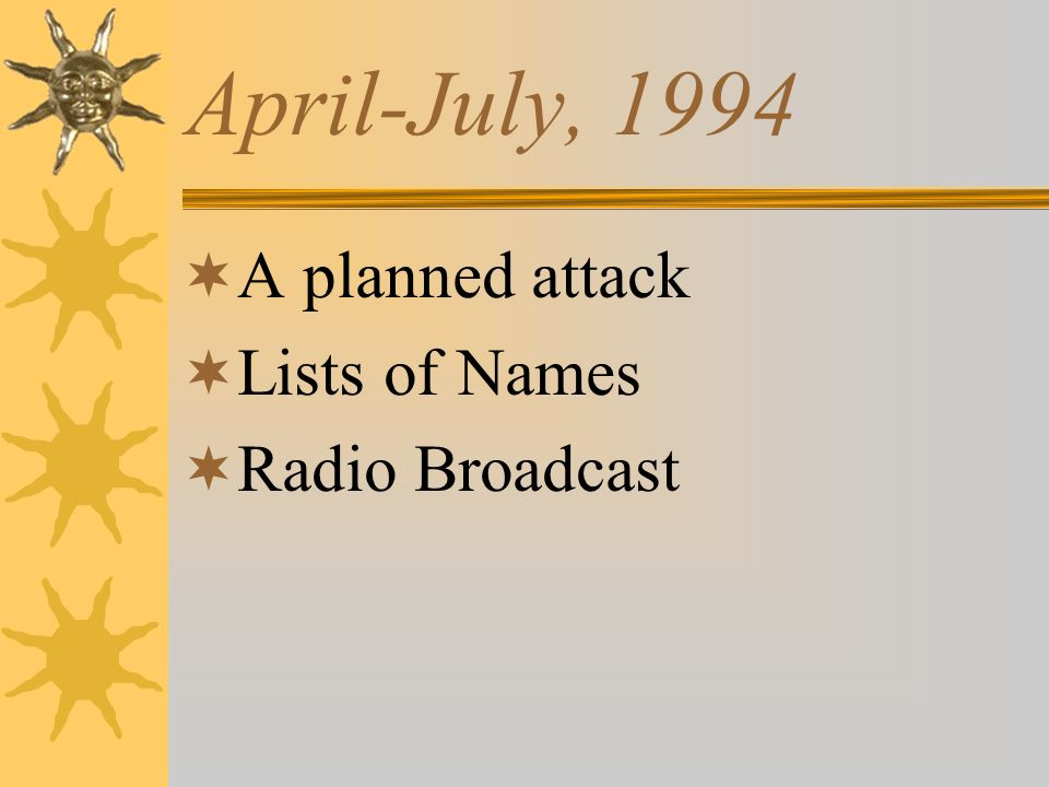 April-July, 1994 A planned attack Lists of Names Radio Broadcast