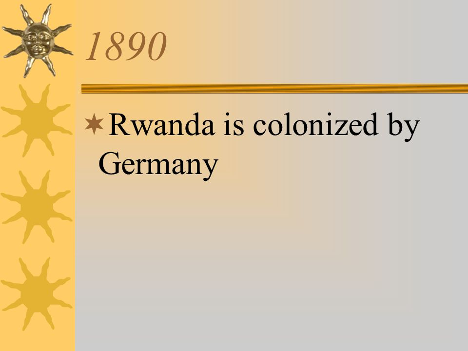 1890 Rwanda is colonized by Germany