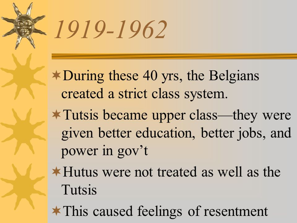 1919-1962 During these 40 yrs, the Belgians created a strict class system.