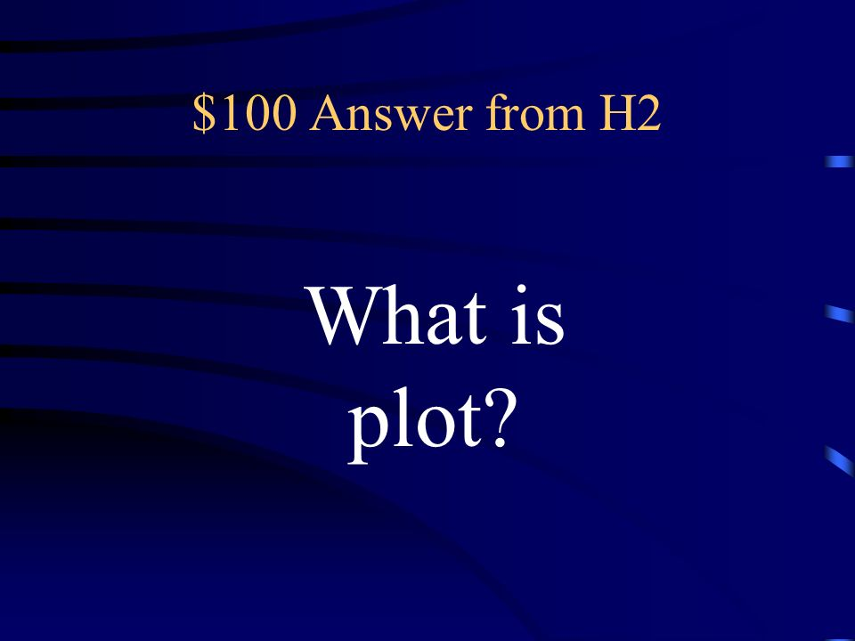 $100 Question from H2 the sequence of events in a story, novel, or play