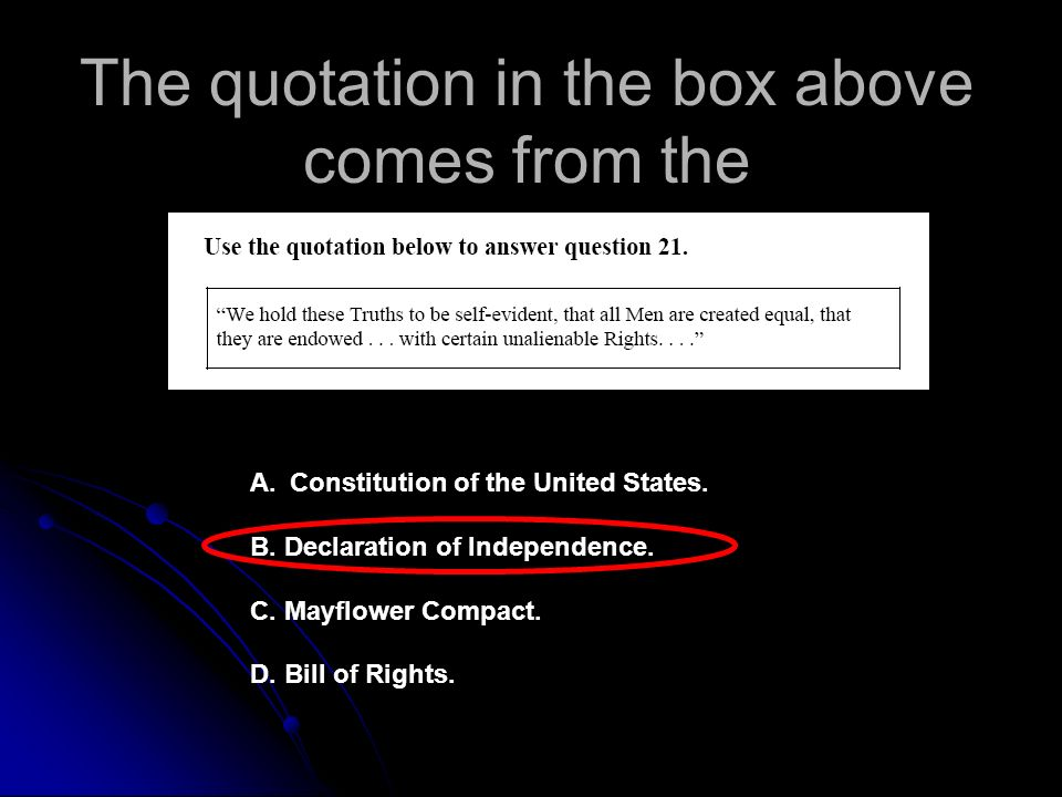 The quotation in the box above comes from the A.Constitution of the United States.