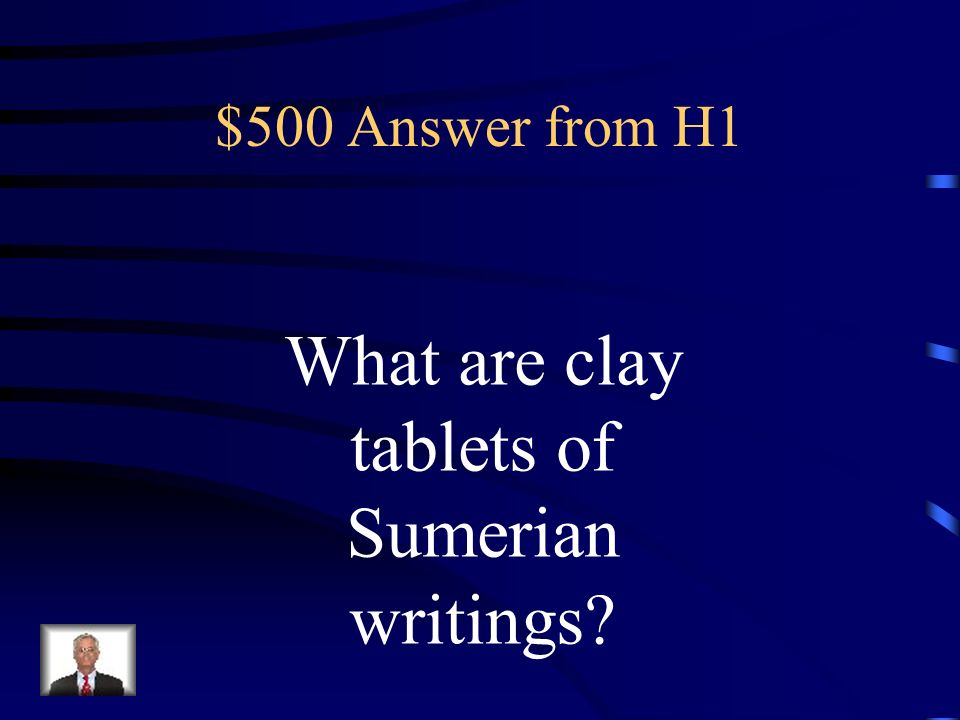 $500 Question from H1 The Assyrian capital of Nineveh had a great library of this.