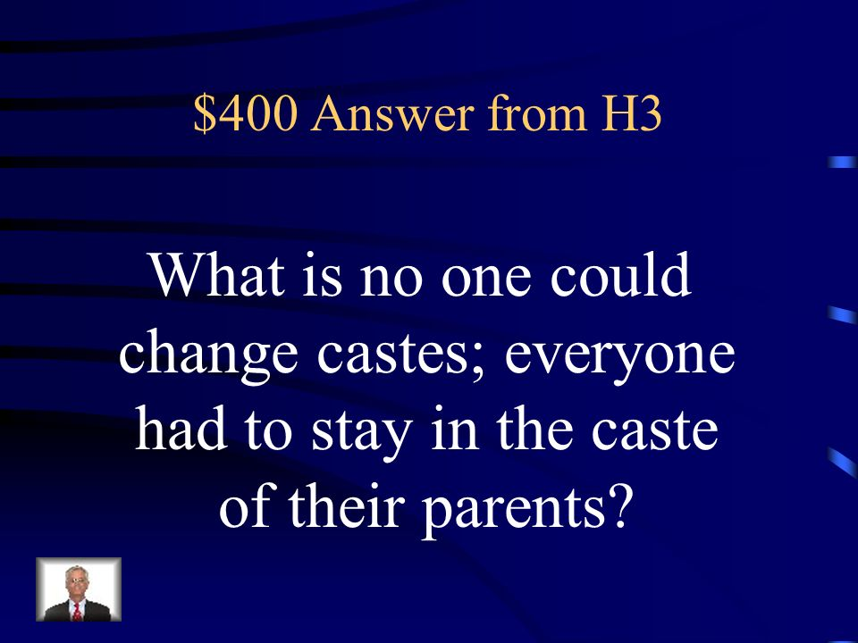 $400 Question from H3 According to the caste system in Ancient India these people could change castes.