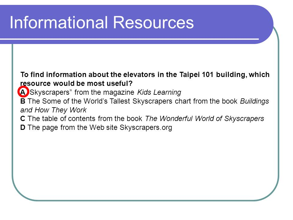 Informational Resources To find information about the elevators in the Taipei 101 building, which resource would be most useful.