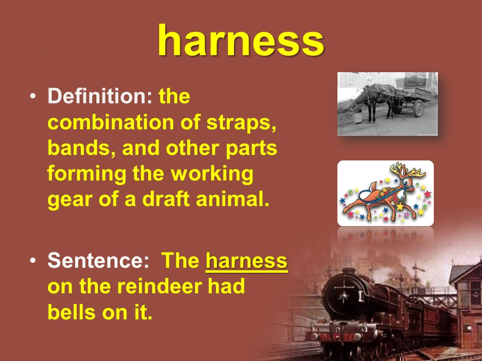 harness Definition: the combination of straps, bands, and other parts forming the working gear of a draft animal.