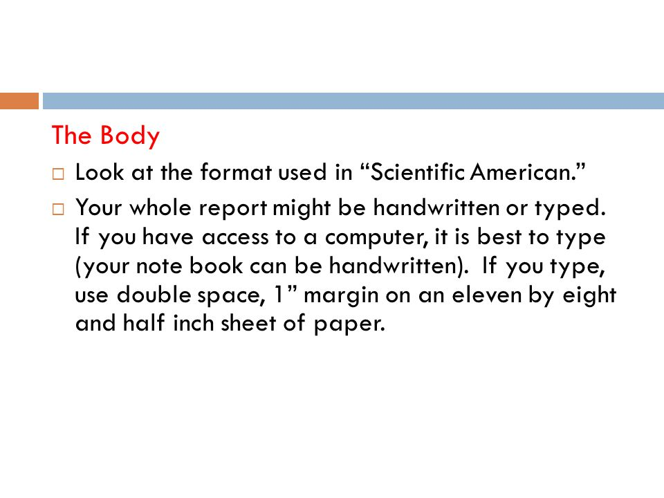 The Body Look at the format used in Scientific American.