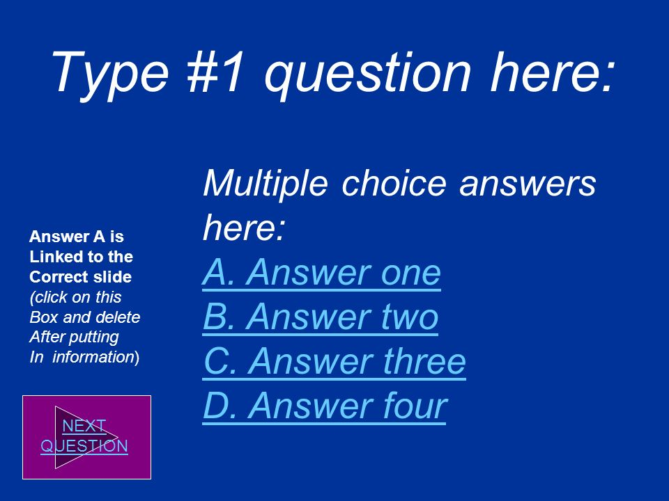 Quiz Title DIRECTIONS: Read each question and click on the correct answer.