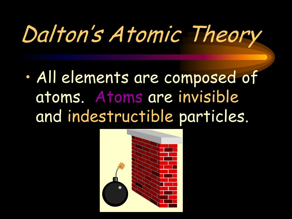 Daltons Atomic Theory All elements are composed of atoms.