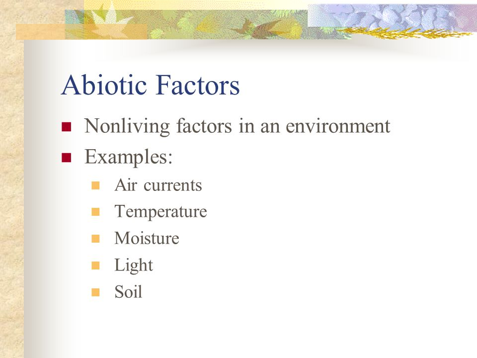 Abiotic Factors Nonliving factors in an environment Examples: Air currents Temperature Moisture Light Soil