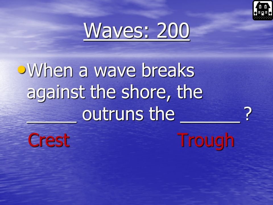 Waves: 100 What part of the wave is this What part of the wave is this Wave Length