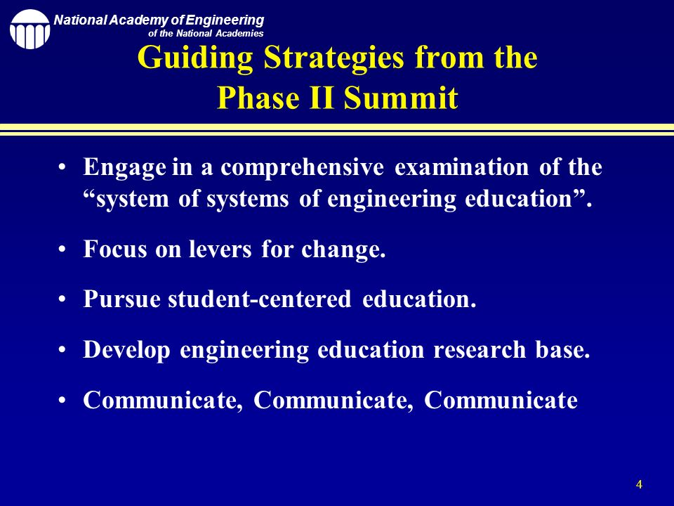 National Academy of Engineering of the National Academies 4 Guiding Strategies from the Phase II Summit Engage in a comprehensive examination of the system of systems of engineering education.