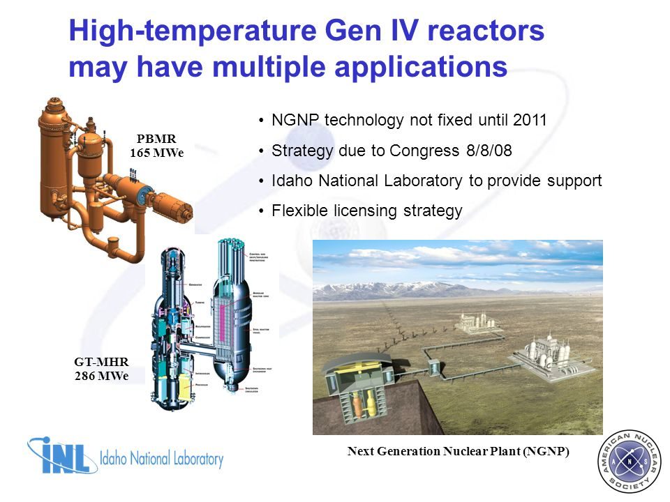 High-temperature Gen IV reactors may have multiple applications PBMR 165 MWe GT-MHR 286 MWe Next Generation Nuclear Plant (NGNP) NGNP technology not fixed until 2011 Strategy due to Congress 8/8/08 Idaho National Laboratory to provide support Flexible licensing strategy