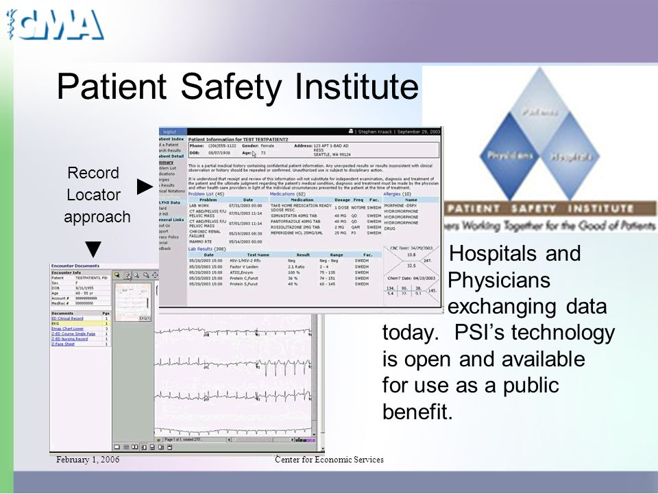 February 1, 2006Center for Economic Services Patient Safety Institute Record Locator approach Hospitals and Physicians exchanging data today.