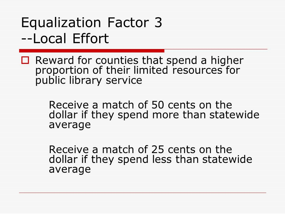 Equalization Factor 3 --Local Effort Reward for counties that spend a higher proportion of their limited resources for public library service Receive a match of 50 cents on the dollar if they spend more than statewide average Receive a match of 25 cents on the dollar if they spend less than statewide average
