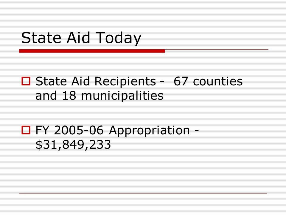 State Aid Today State Aid Recipients - 67 counties and 18 municipalities FY 2005-06 Appropriation - $31,849,233