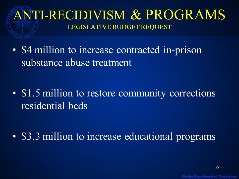 6 $4 million to increase contracted in-prison substance abuse treatment $1.5 million to restore community corrections residential beds $3.3 million to increase educational programs ANTI-RECIDIVISM & PROGRAMS LEGISLATIVE BUDGET REQUEST