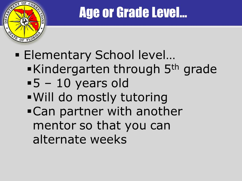 Age or Grade Level… Elementary School level… Kindergarten through 5 th grade 5 – 10 years old Will do mostly tutoring Can partner with another mentor so that you can alternate weeks